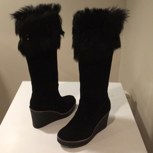 99cf3d095c9 ❤️New Ugg Valberg Black Wedge Suede Tall Boot 10